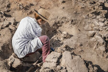 Archaeological excavations, human skeleton remains, found in an ancient tomb.