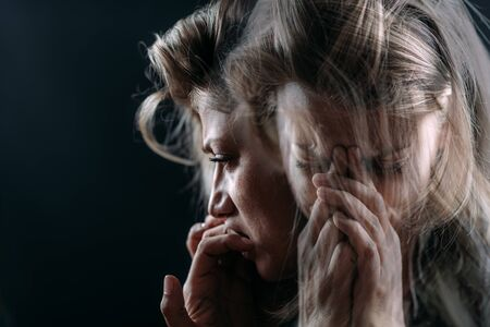 PTSD - Post Traumatic Stress Disorder, woman with mental health problems. Stockfoto