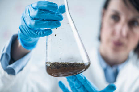 Organic Food Science Inspector Examining Laboratory Flask with Plant Sample Dissolved in Water