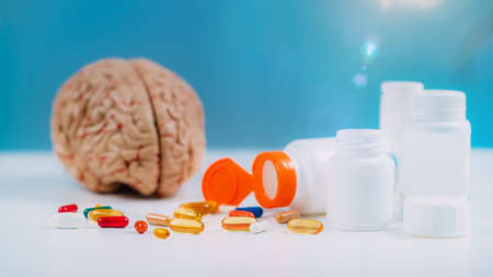Cognition or brain supplements, designed to improve memory, focus, attention and keep the brain healthy Foto de archivo