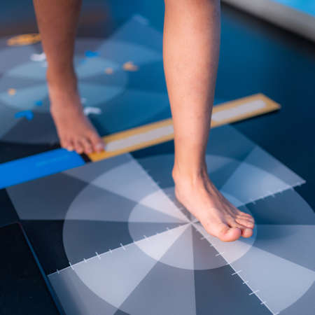 Baropodometry, gait analysis using a foot plate in anthropometry Banque d'images