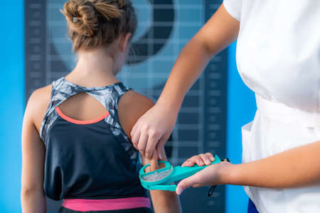 Subcutaneous body fat measurement in children, using calliper on an upper arm, over triceps brachii muscle