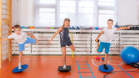 Child doing uni-pedal stance on a balancing disc during physical activity training, balance and coordination improvement Stock Photo