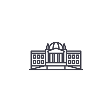 Administrative building line icon, vector illustration. 矢量图像