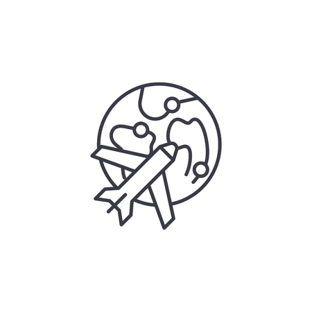 Air logistics linear icon concept. Air logistics line vector sign, symbol, illustration.