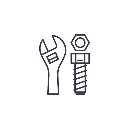 Adjustable spanner linear icon concept. Adjustable spanner line vector sign, symbol, illustration.