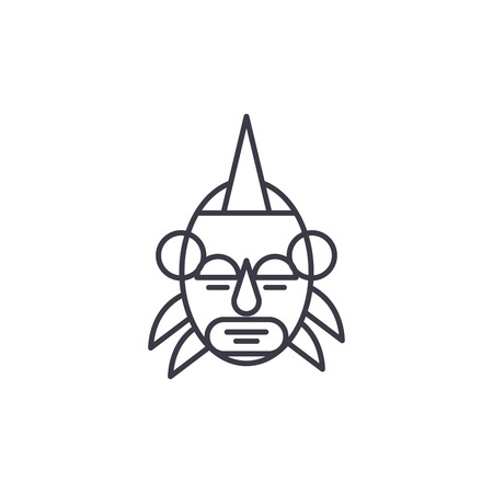 African mask leader linear icon concept. African mask leader line vector sign, symbol, illustration. Vettoriali