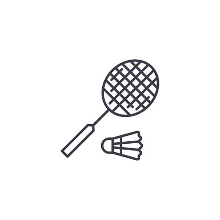 Badminton linear icon concept. Badminton line vector sign, symbol, illustration.  イラスト・ベクター素材