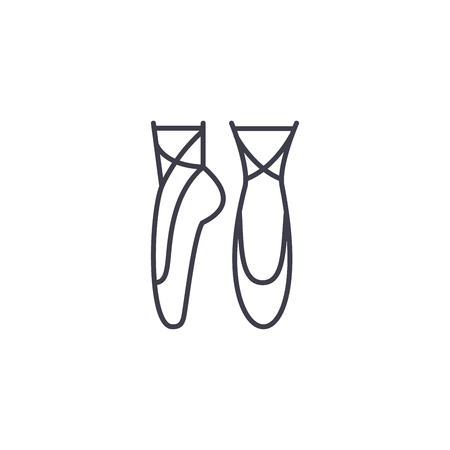 Ballet shoes linear icon concept. Ballet shoes line vector sign, symbol, illustration. Ilustrace