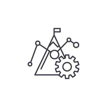 Benchmark-Zahlen lineares Symbolkonzept. Benchmark-Zahlen Linie Vektorzeichen, Symbol, Illustration.