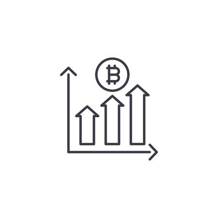 Bitcoin trade volumes linear icon concept. Bitcoin trade volumes line vector sign, symbol, illustration. Ilustracja