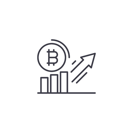 Bitcoin demand increase linear icon concept. Bitcoin demand increase line vector sign, symbol, illustration.