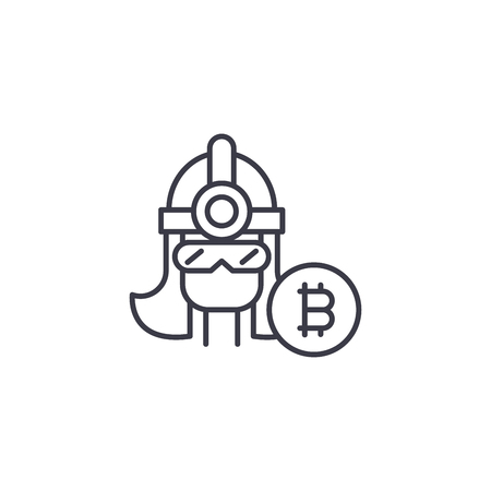Bitcoin miner linear icon concept. Bitcoin miner line vector sign, symbol, illustration.