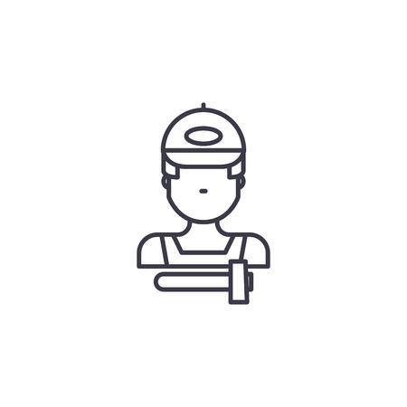 Breakdown mechanic linear icon concept. Breakdown mechanic line vector sign, symbol, illustration.
