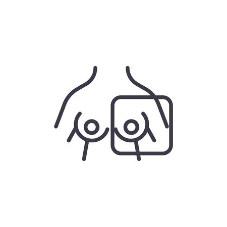 Borst radiografie lineaire pictogram concept. Borst radiografie lijn vector teken, symbool, afbeelding.