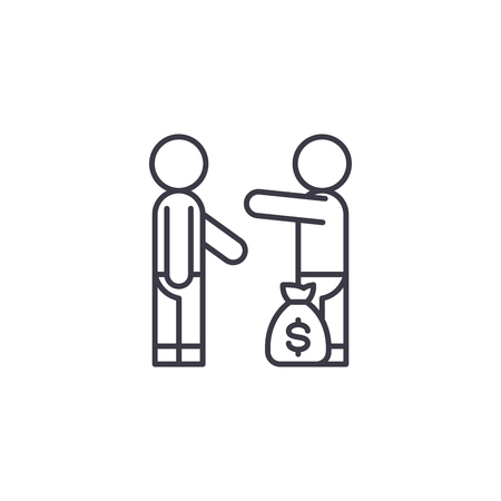 Bribery payment linear icon concept. Bribery payment line vector sign, symbol, illustration.