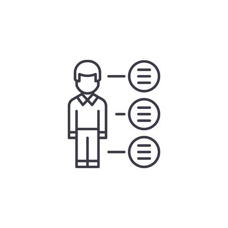 Concepto de icono lineal de puntos de viñeta. Puntos de viñeta línea vector de señal, símbolo, Ilustración.