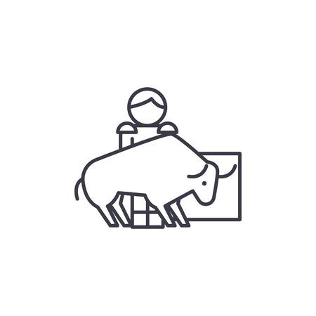 Bullfight linear icon concept. Bullfight line vector sign, symbol, illustration.