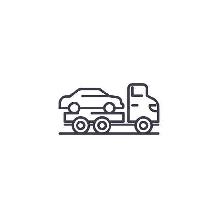 Car carrier linear icon concept. Car carrier line vector sign, symbol, illustration. 矢量图像