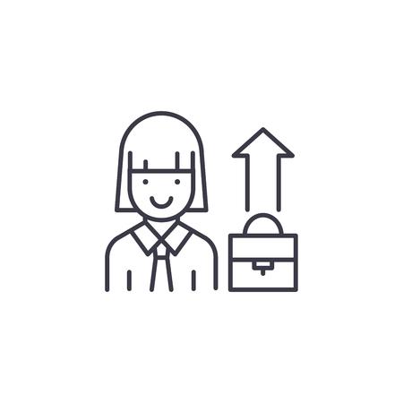 Businesswoman linear icon concept. Businesswoman line vector sign, symbol, illustration.