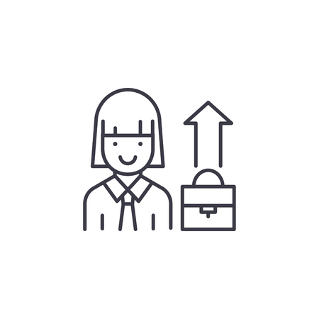 Businesswoman linear icon concept. Businesswoman line vector sign, symbol, illustration.
