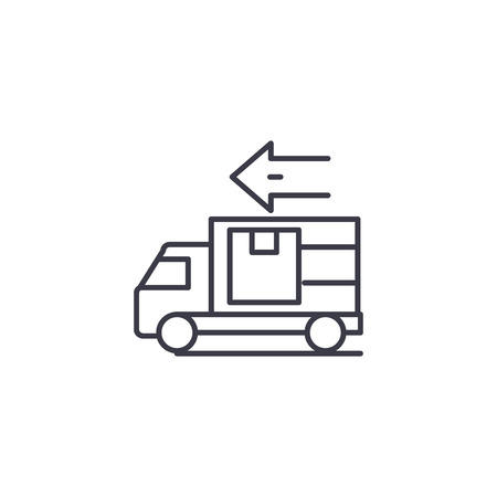 Car delivery linear icon concept. Car delivery line vector sign, symbol, illustration. Иллюстрация