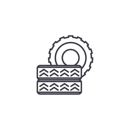 Car tire linear icon concept. Car tire line vector sign, symbol, illustration. Illusztráció