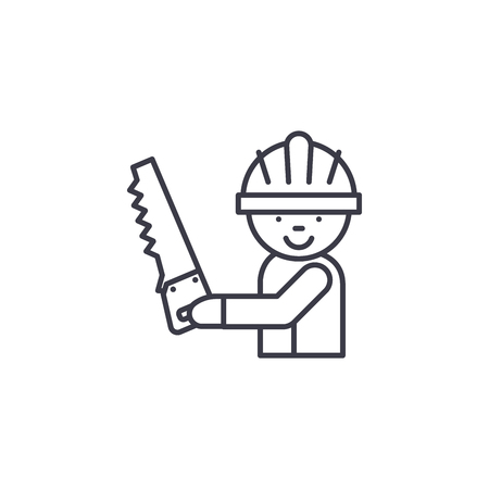 Carpenter with saw linear icon concept. Carpenter with saw line vector sign, symbol, illustration.