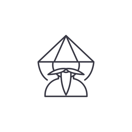 Chinese monk linear icon concept. Chinese monk line vector sign, symbol, illustration.