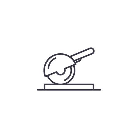 Circular saw linear icon concept. Circular saw line vector sign, symbol, illustration.
