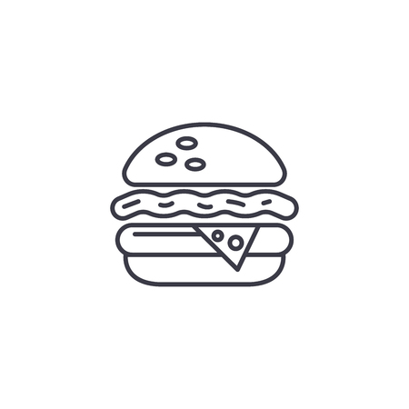 Cheeseburger linear icon concept. Cheeseburger line vector sign, symbol, illustration.