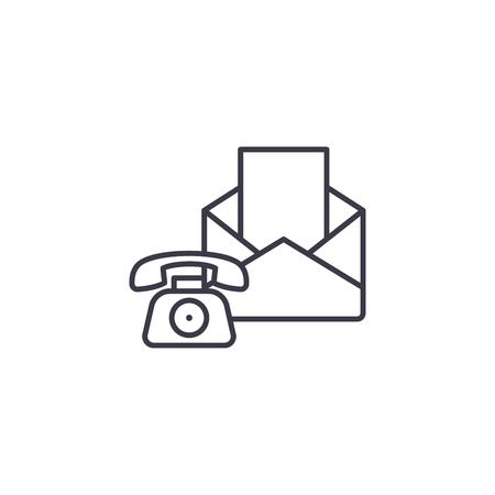 Concepto de icono lineal de medios comunicativos. Medios comunicativos línea vector de señal, símbolo, Ilustración. Ilustración de vector