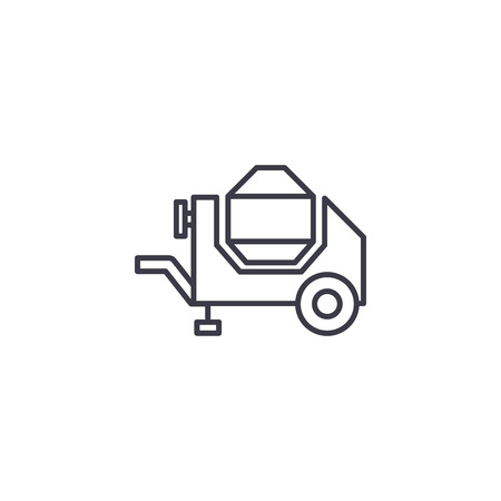 Concrete mixer linear icon concept. Concrete mixer line vector sign, symbol, illustration.