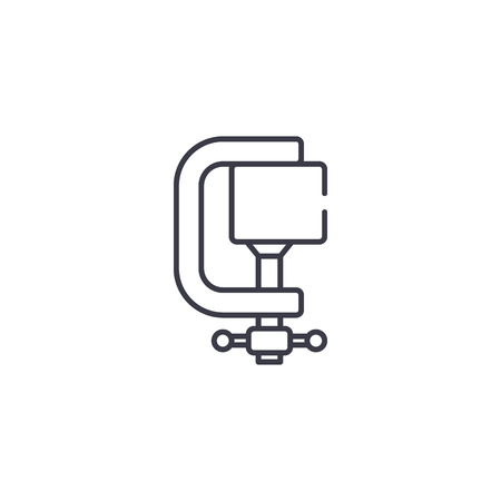 Clamp linear icon concept. Clamp line vector sign, symbol, illustration.
