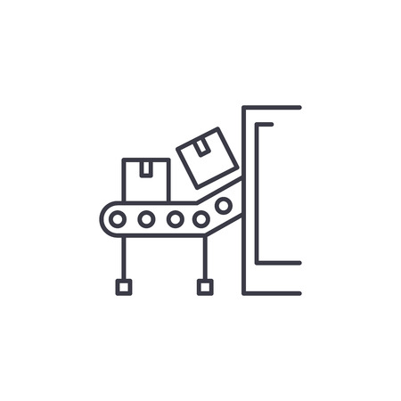 Conveyor belt linear icon concept. Conveyor belt line vector sign, symbol, illustration.