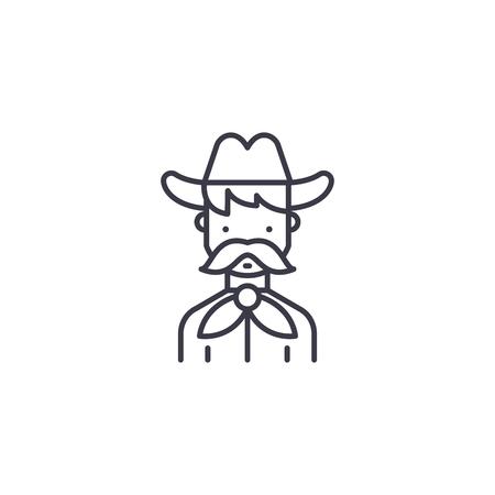 Cowboy linear icon concept. Cowboy line vector sign, symbol, illustration.  イラスト・ベクター素材