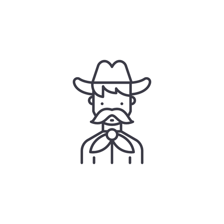 Cowboy linear icon concept. Cowboy line vector sign, symbol, illustration. Ilustrace