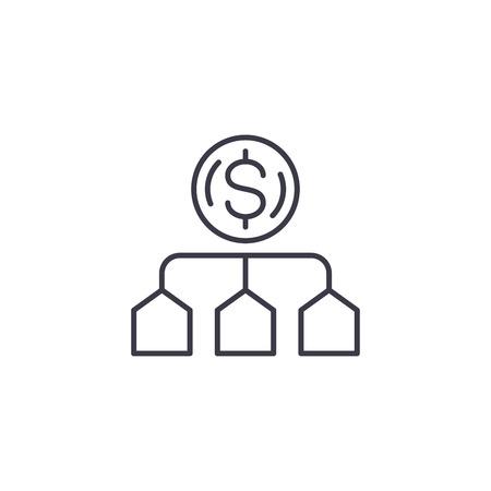 Cost allocation linear icon concept. Cost allocation line vector sign, symbol, illustration.