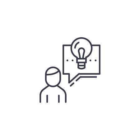 Describing a project linear icon concept. Describing a project line vector sign, symbol, illustration. 向量圖像