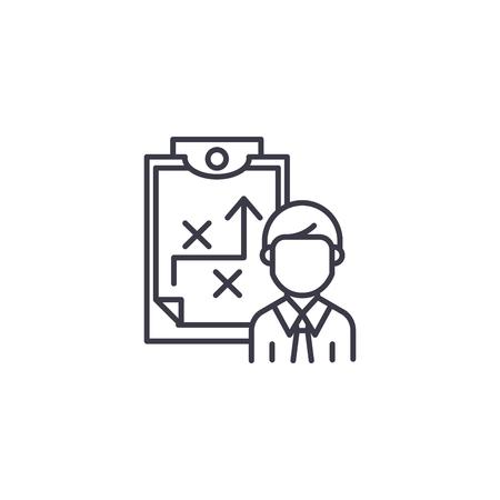 Strategie lineaire pictogram concept beschrijven. Strategie lijn vector teken, symbool, afbeelding beschrijven.