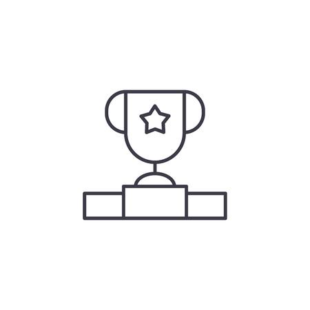 Deserved award linear icon concept. Deserved award line vector sign, symbol, illustration.