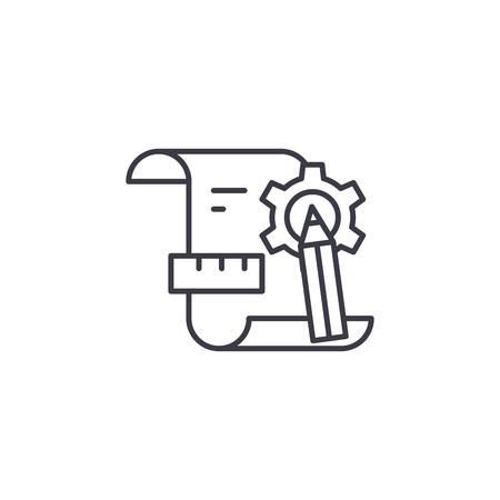 Designing process linear icon concept. Designing process line vector sign, symbol, illustration.
