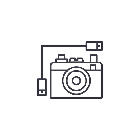 Digital photo camera linear icon concept. Digital photo camera line vector sign, symbol, illustration.
