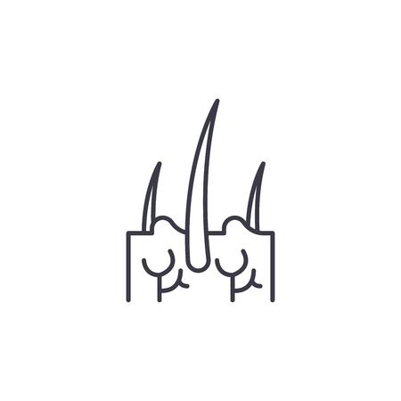 Concepto de icono lineal de cabello de dermis. Dermis pelo línea vector de señal, símbolo, Ilustración.