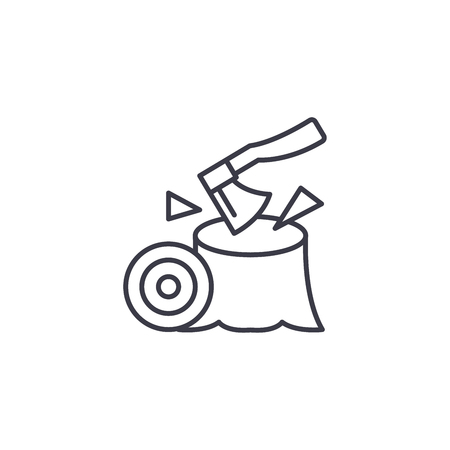 Axe, woodworking linear icon concept. Axe, woodworking line vector sign, symbol, illustration.  イラスト・ベクター素材
