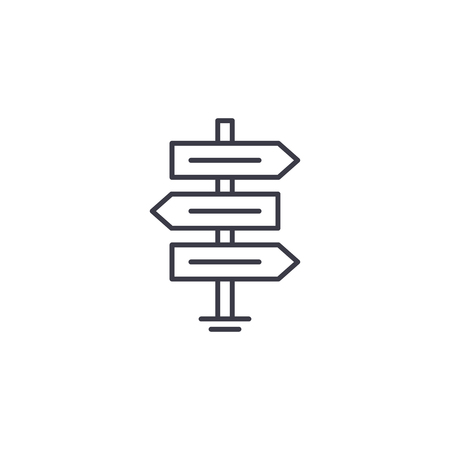 Direction signs linear icon concept. Direction signs line vector sign, symbol, illustration. 일러스트