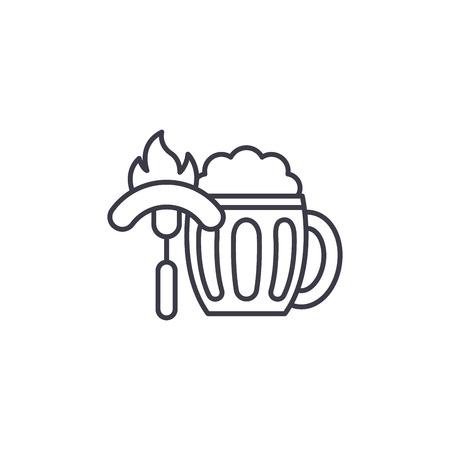 Concepto de icono lineal de salchichas de cerveza. Cerveza salchichas línea vector de señal, símbolo, Ilustración.