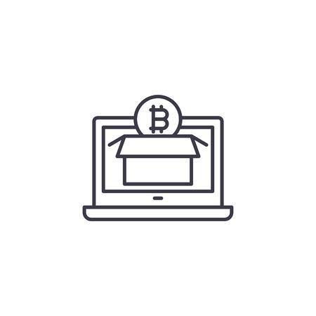 Exploring bitcoin market linear icon concept. Exploring bitcoin market line vector sign, symbol, illustration. Illustration