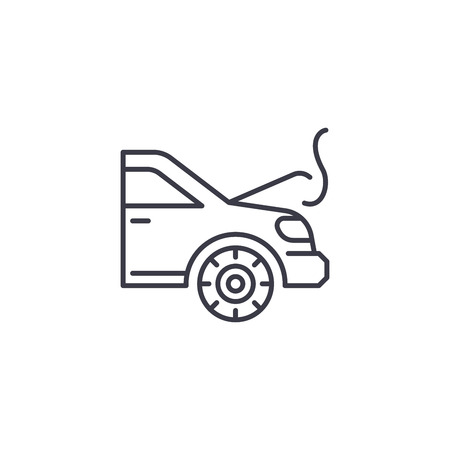 Engine overheating linear icon concept. Engine overheating line vector sign, symbol, illustration.