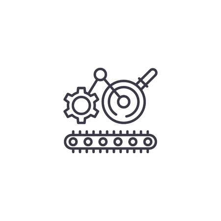 Engineering process linear icon concept. Engineering process line vector sign, symbol, illustration. Vettoriali